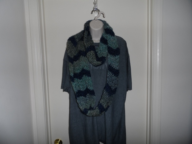 Blue & Green Crochet Infinity Scarf
