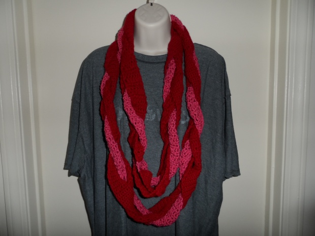 Braided pink scarf